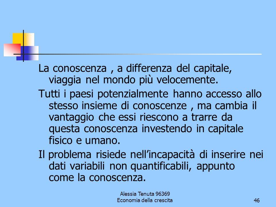 Alessia Tenuta 96369 Economia della crescita46 La conoscenza, a differenza del capitale, viaggia nel mondo più velocemente. Tutti i paesi potenzialmen