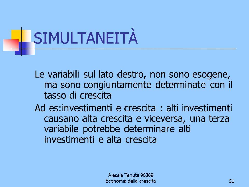 Alessia Tenuta 96369 Economia della crescita51 SIMULTANEITÀ Le variabili sul lato destro, non sono esogene, ma sono congiuntamente determinate con il