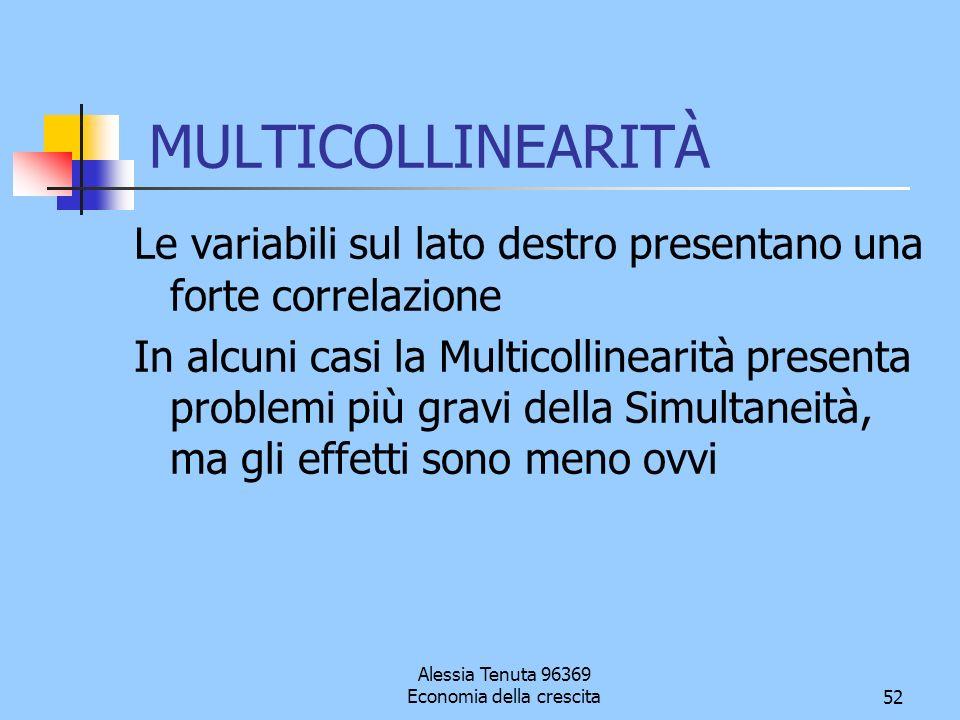 Alessia Tenuta 96369 Economia della crescita52 MULTICOLLINEARITÀ Le variabili sul lato destro presentano una forte correlazione In alcuni casi la Mult