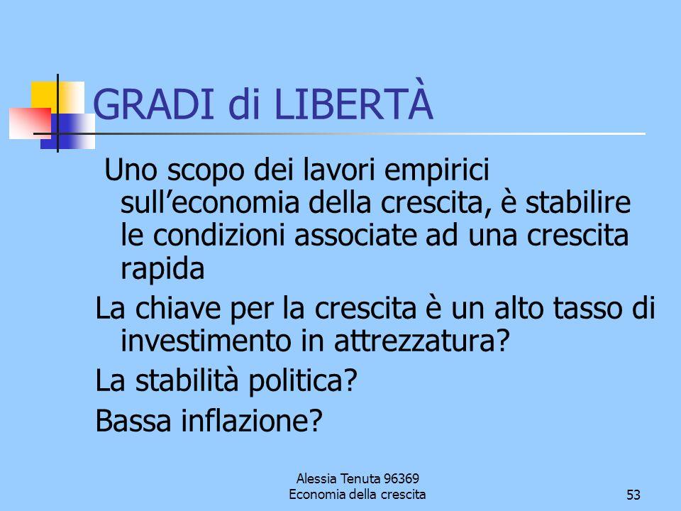 Alessia Tenuta 96369 Economia della crescita53 GRADI di LIBERTÀ Uno scopo dei lavori empirici sulleconomia della crescita, è stabilire le condizioni a