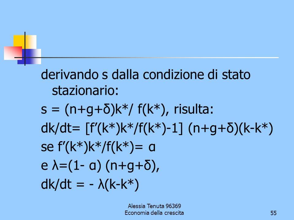 Alessia Tenuta 96369 Economia della crescita55 derivando s dalla condizione di stato stazionario: s = (n+g+δ)k*/ f(k*), risulta: dk/dt= [f(k*)k*/f(k*)