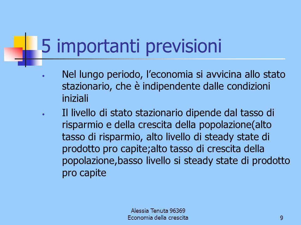 Alessia Tenuta 96369 Economia della crescita9 5 importanti previsioni Nel lungo periodo, leconomia si avvicina allo stato stazionario, che è indipende