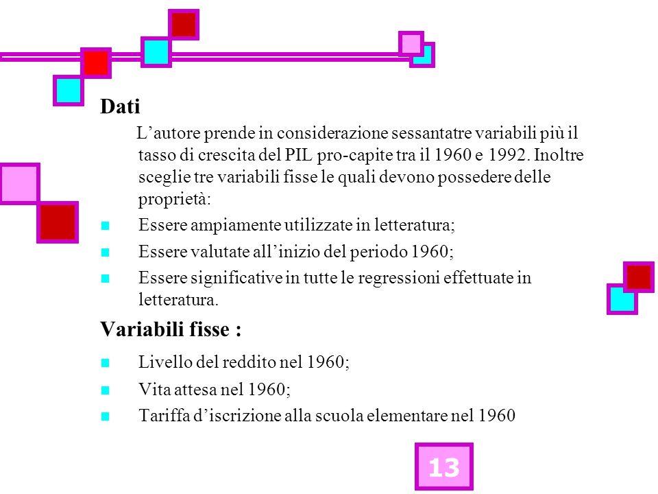 13 Dati Lautore prende in considerazione sessantatre variabili più il tasso di crescita del PIL pro-capite tra il 1960 e 1992. Inoltre sceglie tre var