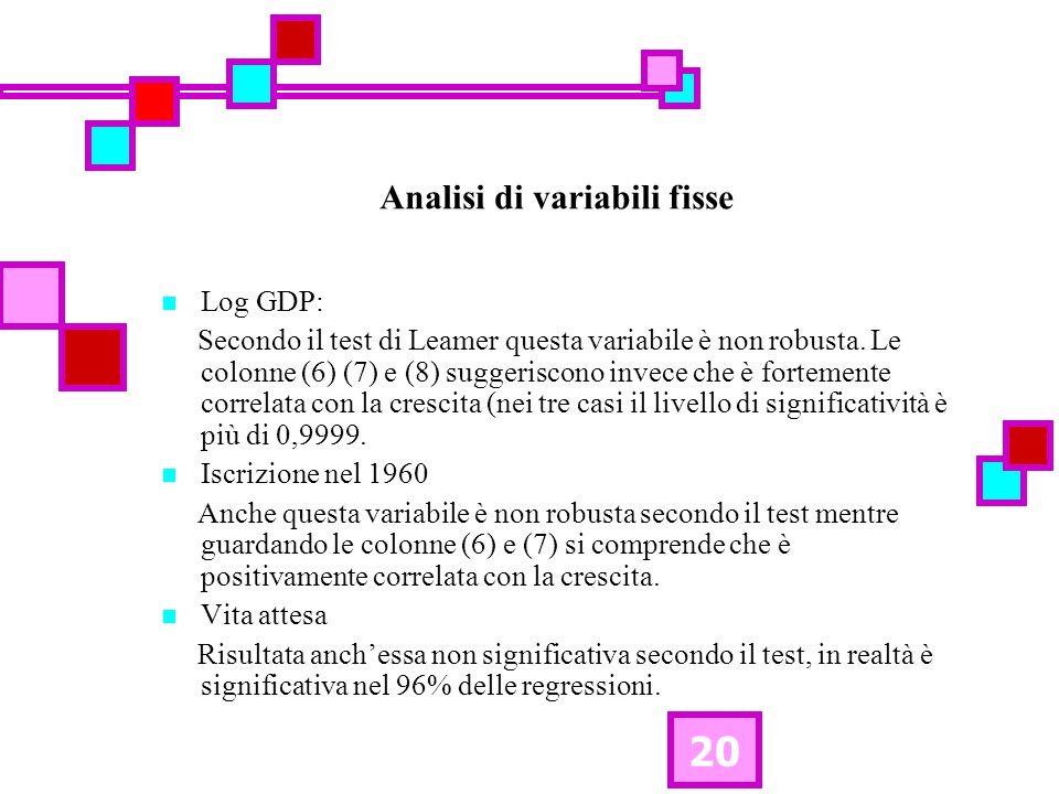 20 Analisi di variabili fisse Log GDP: Secondo il test di Leamer questa variabile è non robusta. Le colonne (6) (7) e (8) suggeriscono invece che è fo
