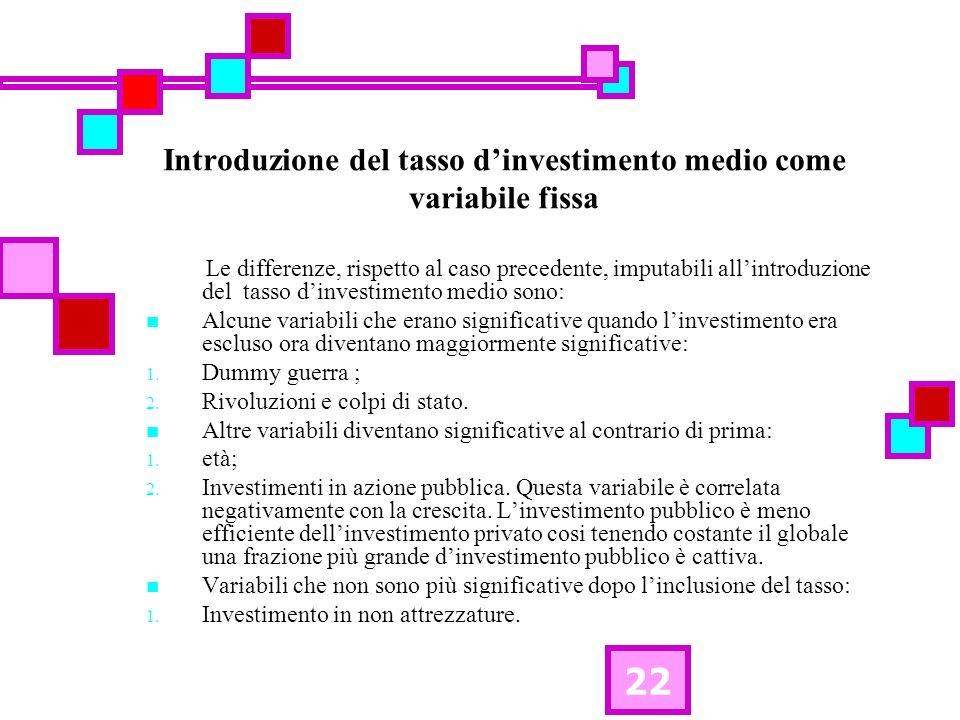 22 Introduzione del tasso dinvestimento medio come variabile fissa Le differenze, rispetto al caso precedente, imputabili allintroduzione del tasso di