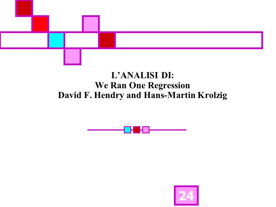 24 LANALISI DI: We Ran One Regression David F. Hendry and Hans-Martin Krolzig