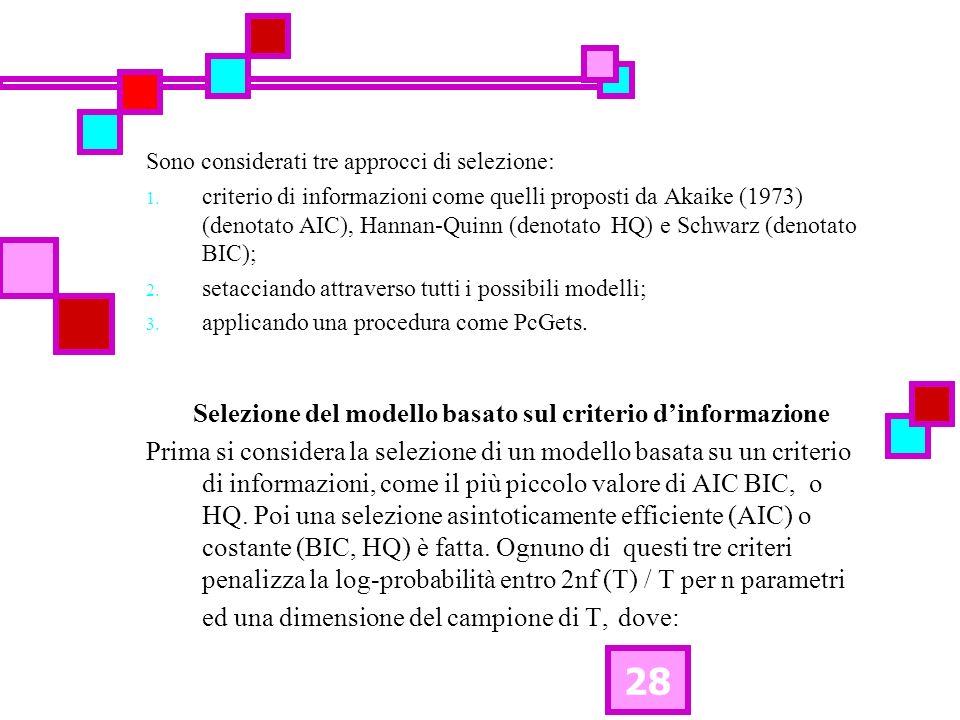 28 Sono considerati tre approcci di selezione: 1. criterio di informazioni come quelli proposti da Akaike (1973) (denotato AIC), Hannan-Quinn (denotat