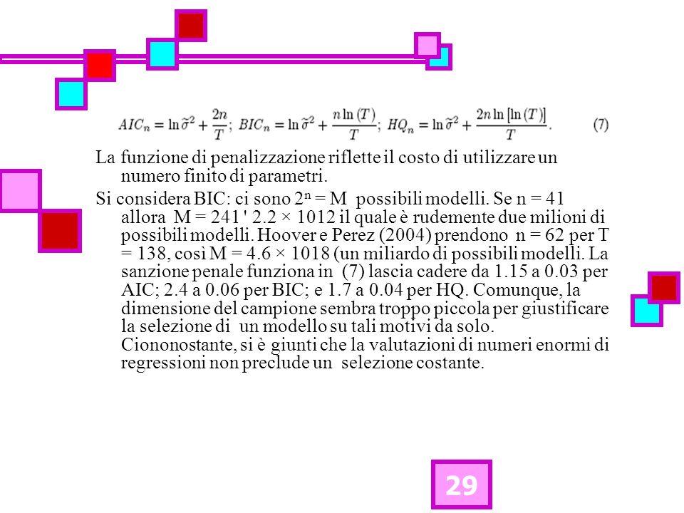 29 La funzione di penalizzazione riflette il costo di utilizzare un numero finito di parametri. Si considera BIC: ci sono 2 n = M possibili modelli. S