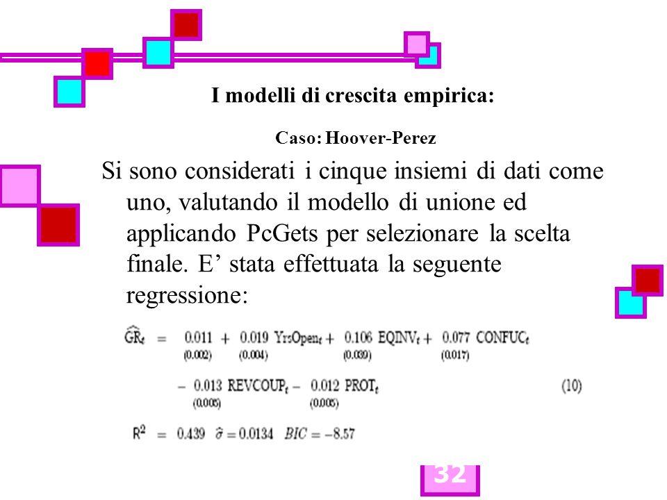 32 I modelli di crescita empirica: Caso: Hoover-Perez Si sono considerati i cinque insiemi di dati come uno, valutando il modello di unione ed applica