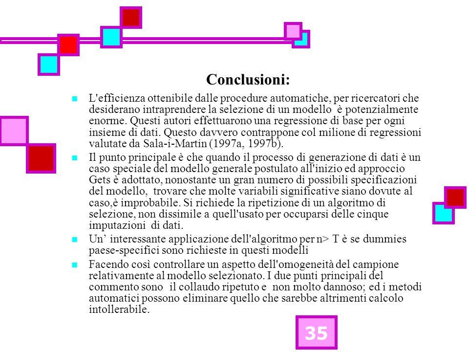 35 Conclusioni: L'efficienza ottenibile dalle procedure automatiche, per ricercatori che desiderano intraprendere la selezione di un modello è potenzi