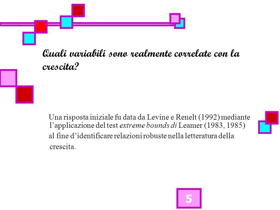 5 Quali variabili sono realmente correlate con la crescita? Una risposta iniziale fu data da Levine e Renelt (1992) mediante lapplicazione del test ex