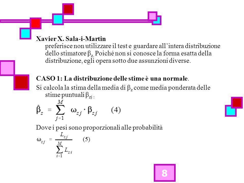 8 Xavier X. Sala-i-Martin preferisce non utilizzare il test e guardare allintera distribuzione dello stimatore β z. Poiché non si conosce la forma esa