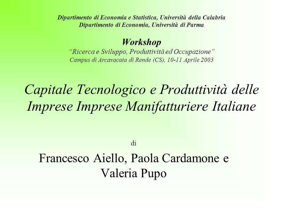 Dipartimento di Economia e Statistica, Università della Calabria Dipartimento di Economia, Università di Parma Workshop Ricerca e Sviluppo, Produttivi