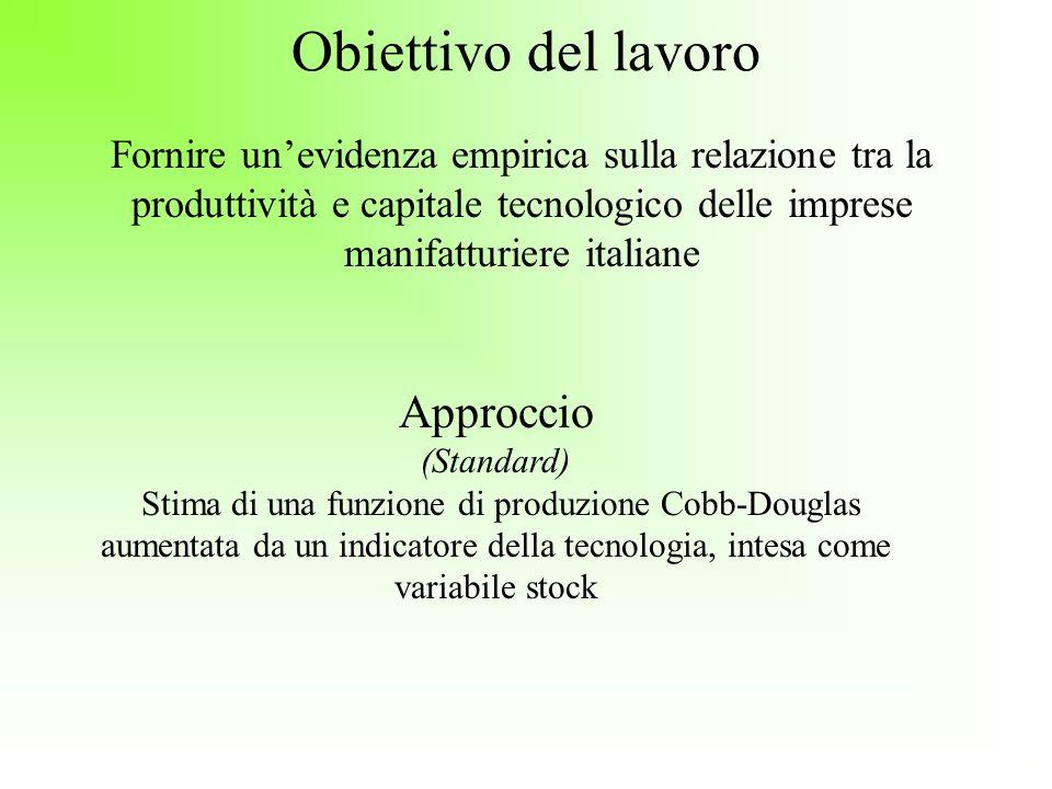 Obiettivo del lavoro Fornire unevidenza empirica sulla relazione tra la produttività e capitale tecnologico delle imprese manifatturiere italiane Appr