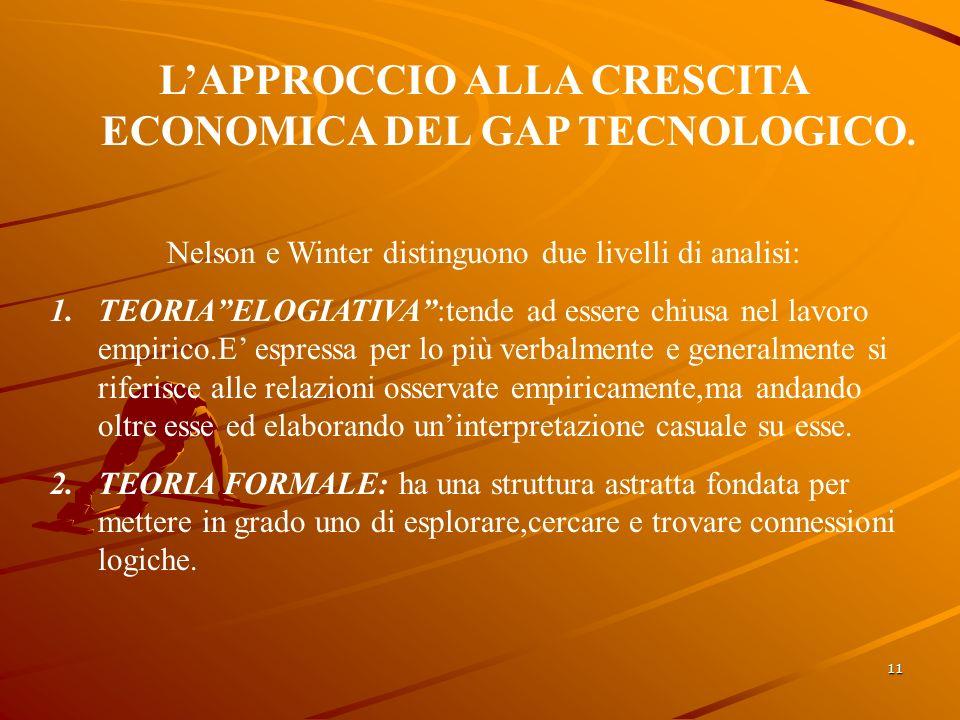 11 LAPPROCCIO ALLA CRESCITA ECONOMICA DEL GAP TECNOLOGICO.