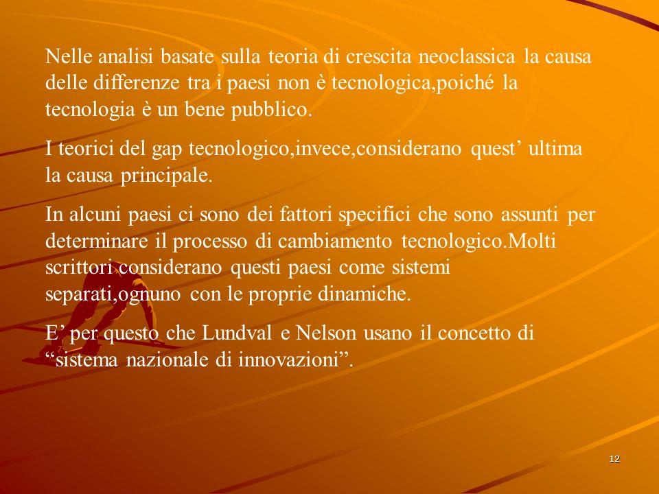 12 Nelle analisi basate sulla teoria di crescita neoclassica la causa delle differenze tra i paesi non è tecnologica,poiché la tecnologia è un bene pubblico.