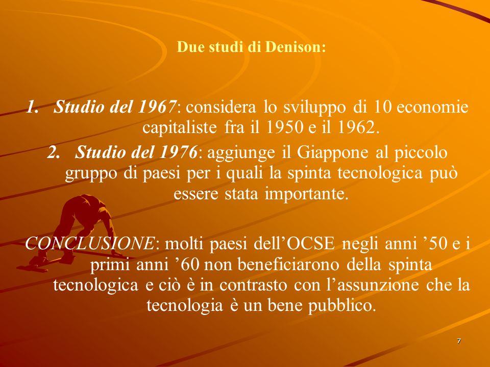 7 Due studi di Denison: 1.