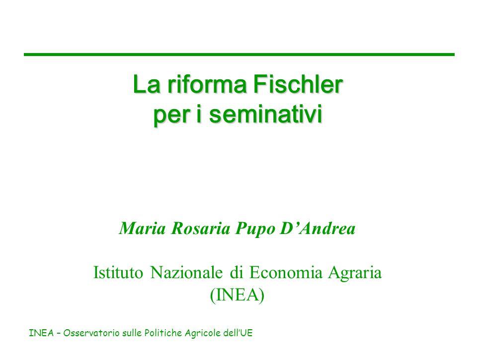 INEA – Osservatorio sulle Politiche Agricole dellUE La riforma Fischler per i seminativi Maria Rosaria Pupo DAndrea Istituto Nazionale di Economia Agr