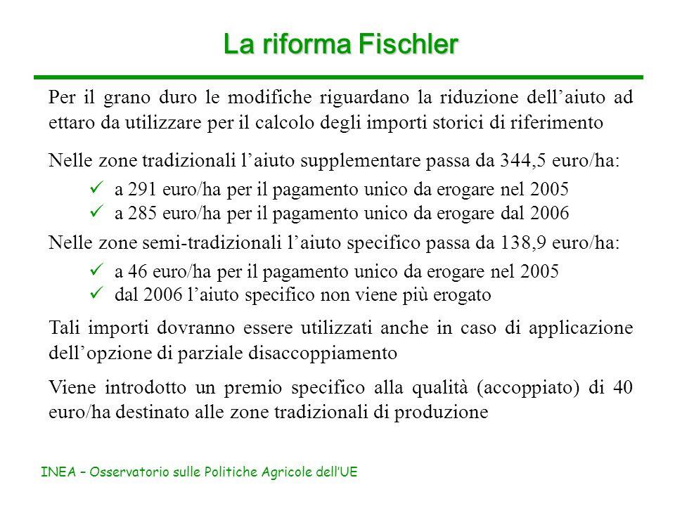 INEA – Osservatorio sulle Politiche Agricole dellUE La riforma Fischler Per il grano duro le modifiche riguardano la riduzione dellaiuto ad ettaro da