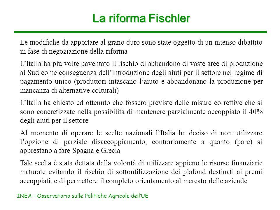 INEA – Osservatorio sulle Politiche Agricole dellUE La riforma Fischler Le modifiche da apportare al grano duro sono state oggetto di un intenso dibat