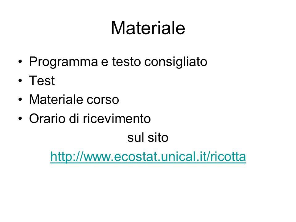 Materiale Programma e testo consigliato Test Materiale corso Orario di ricevimento sul sito http://www.ecostat.unical.it/ricotta