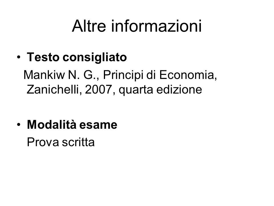 Altre informazioni Testo consigliato Mankiw N. G., Principi di Economia, Zanichelli, 2007, quarta edizione Modalità esame Prova scritta