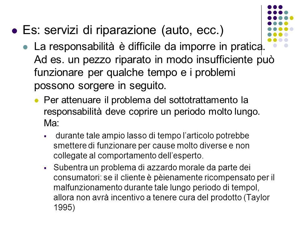 Es: servizi di riparazione (auto, ecc.) La responsabilità è difficile da imporre in pratica. Ad es. un pezzo riparato in modo insufficiente può funzio