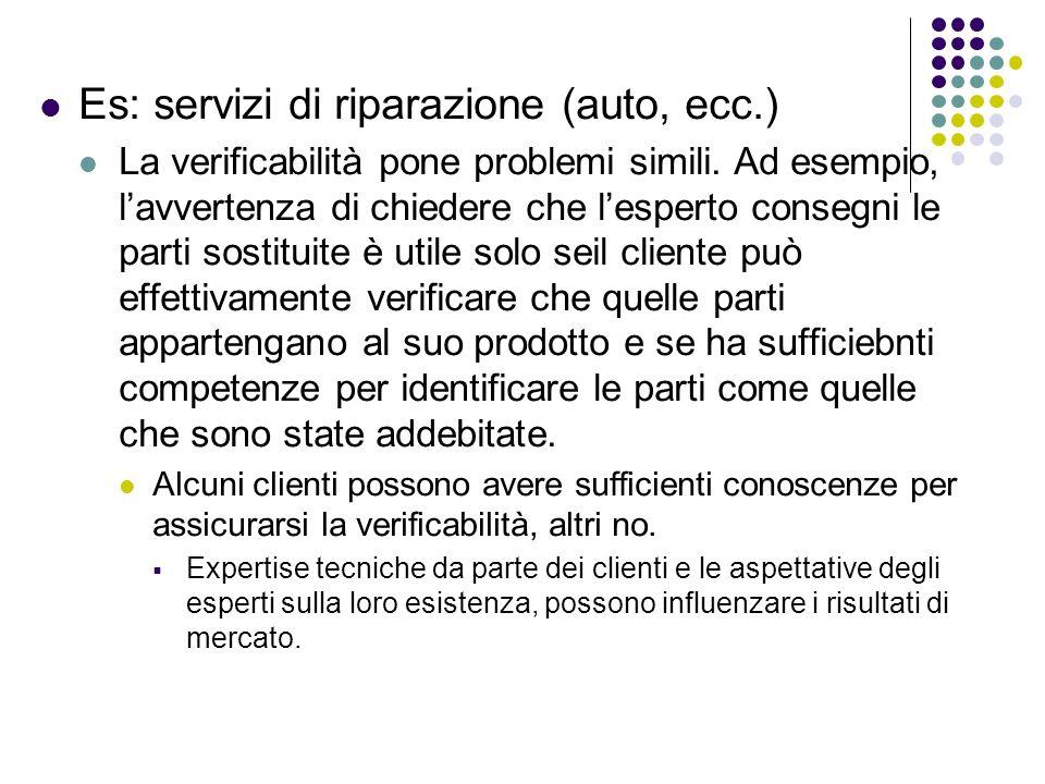 Es: servizi di riparazione (auto, ecc.) La verificabilità pone problemi simili. Ad esempio, lavvertenza di chiedere che lesperto consegni le parti sos