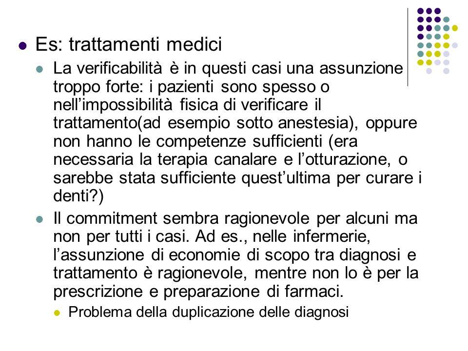 Es: trattamenti medici La verificabilità è in questi casi una assunzione troppo forte: i pazienti sono spesso o nellimpossibilità fisica di verificare