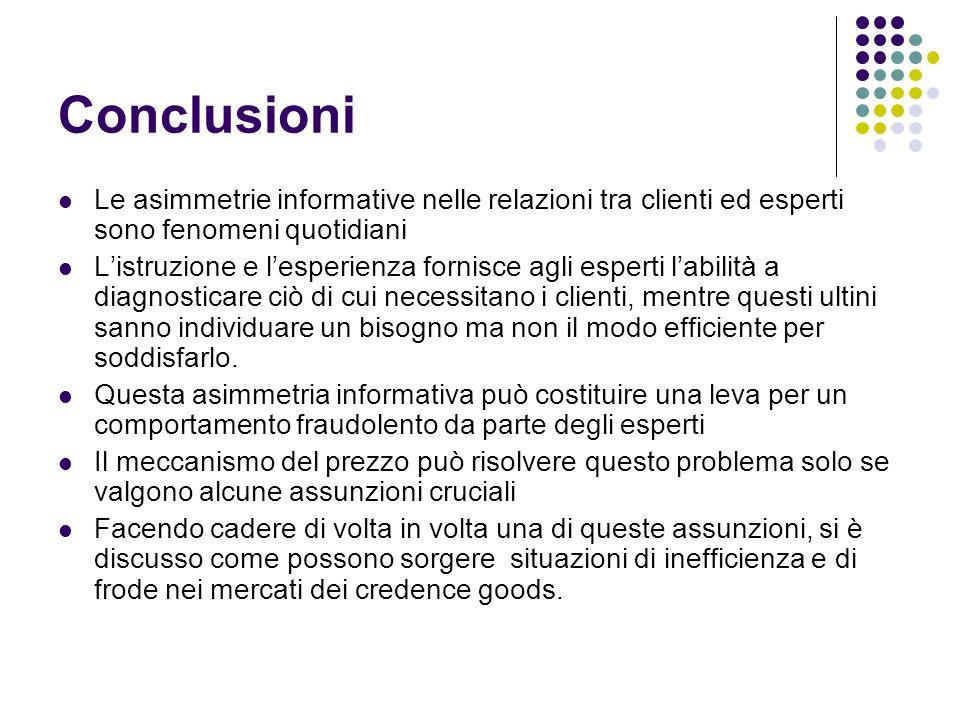 Conclusioni Le asimmetrie informative nelle relazioni tra clienti ed esperti sono fenomeni quotidiani Listruzione e lesperienza fornisce agli esperti