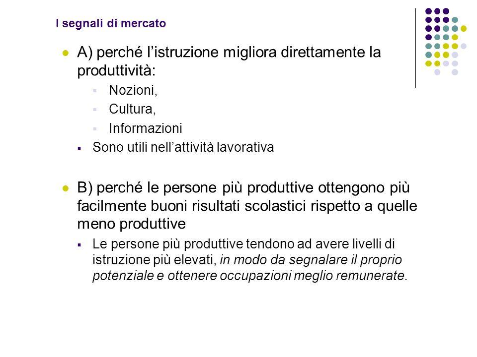 I segnali di mercato A) perché listruzione migliora direttamente la produttività: Nozioni, Cultura, Informazioni Sono utili nellattività lavorativa B)