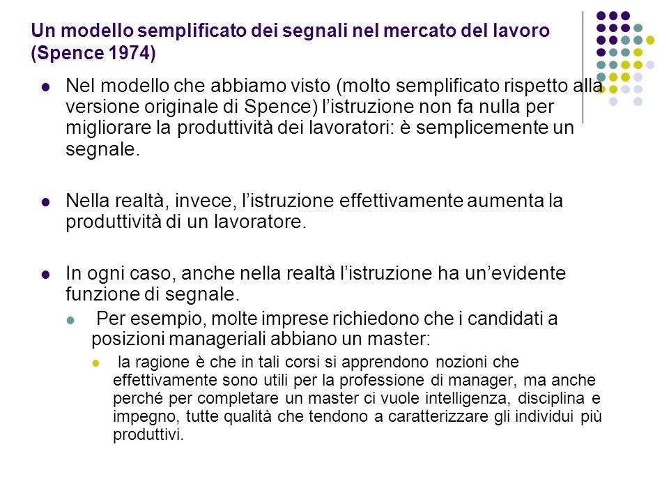 Un modello semplificato dei segnali nel mercato del lavoro (Spence 1974) Nel modello che abbiamo visto (molto semplificato rispetto alla versione orig