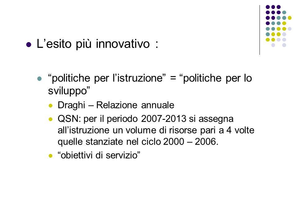 Lesito più innovativo : politiche per listruzione = politiche per lo sviluppo Draghi – Relazione annuale QSN: per il periodo 2007-2013 si assegna alli