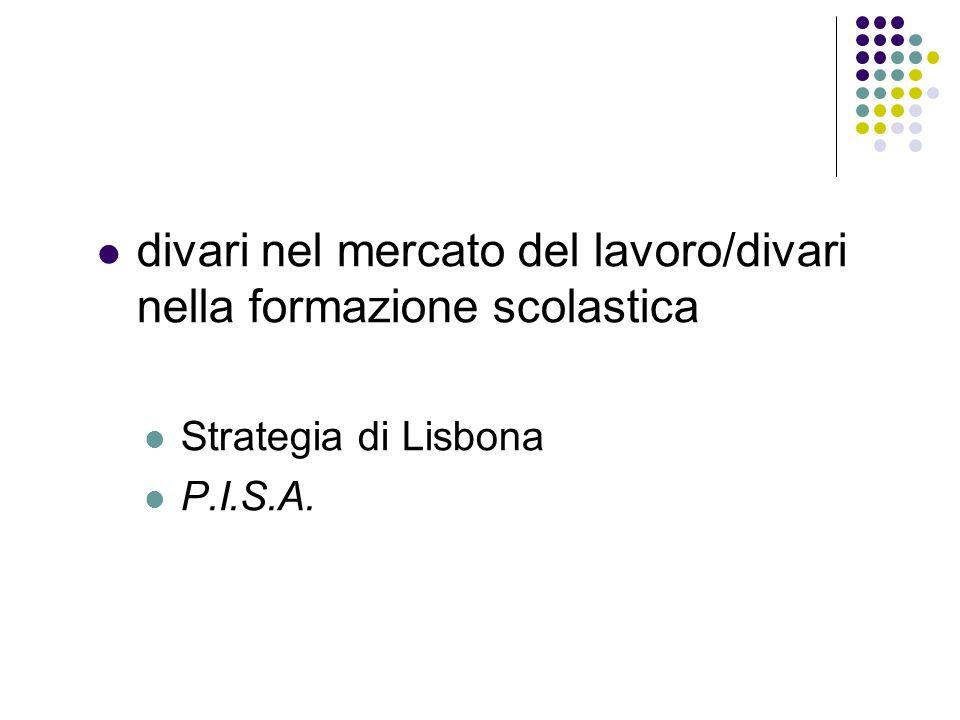 divari nel mercato del lavoro/divari nella formazione scolastica Strategia di Lisbona P.I.S.A.