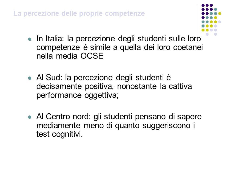 La percezione delle proprie competenze In Italia: la percezione degli studenti sulle loro competenze è simile a quella dei loro coetanei nella media O