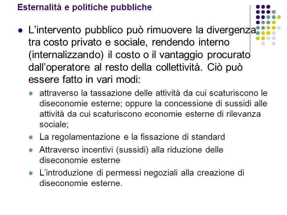 Esternalità e politiche pubbliche Lintervento pubblico può rimuovere la divergenza tra costo privato e sociale, rendendo interno (internalizzando) il