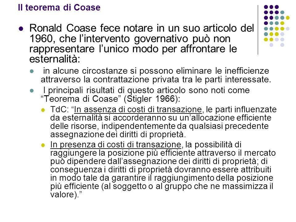 Il teorema di Coase Ronald Coase fece notare in un suo articolo del 1960, che lintervento governativo può non rappresentare lunico modo per affrontare