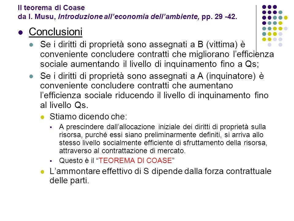 Il teorema di Coase da I. Musu, Introduzione alleconomia dellambiente, pp. 29 -42. Conclusioni Se i diritti di proprietà sono assegnati a B (vittima)