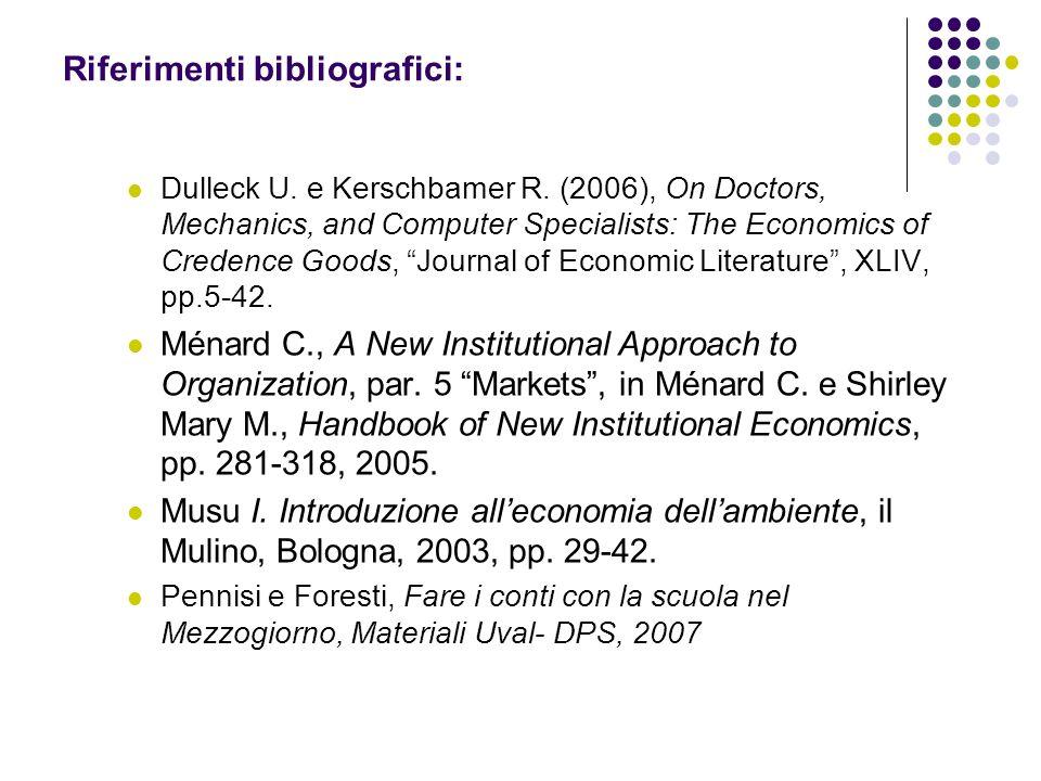Riferimenti bibliografici: Dulleck U. e Kerschbamer R. (2006), On Doctors, Mechanics, and Computer Specialists: The Economics of Credence Goods, Journ