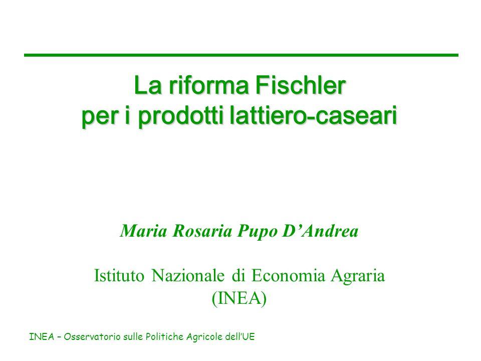 INEA – Osservatorio sulle Politiche Agricole dellUE La riforma Fischler per i prodotti lattiero - caseari Maria Rosaria Pupo DAndrea Istituto Nazional
