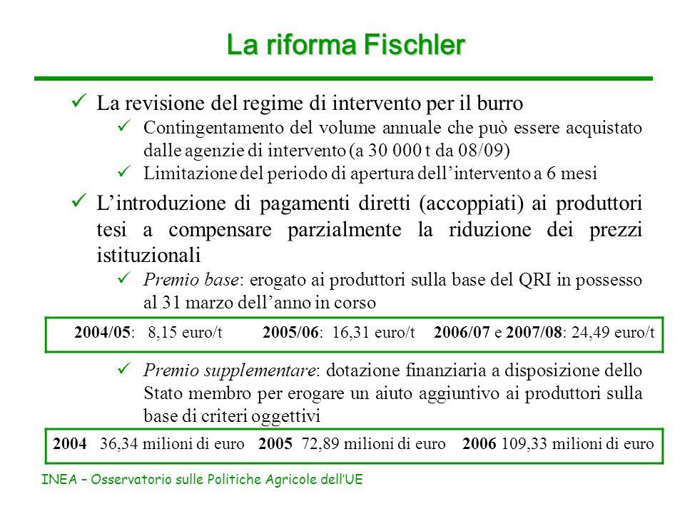 INEA – Osservatorio sulle Politiche Agricole dellUE La riforma Fischler La revisione del regime di intervento per il burro Contingentamento del volume