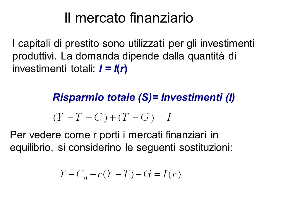 Il mercato finanziario I capitali di prestito sono utilizzati per gli investimenti produttivi. La domanda dipende dalla quantità di investimenti total