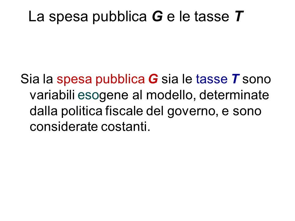 Sia la spesa pubblica G sia le tasse T sono variabili eso gene al modello, determinate dalla politica fiscale del governo, e sono considerate costanti.