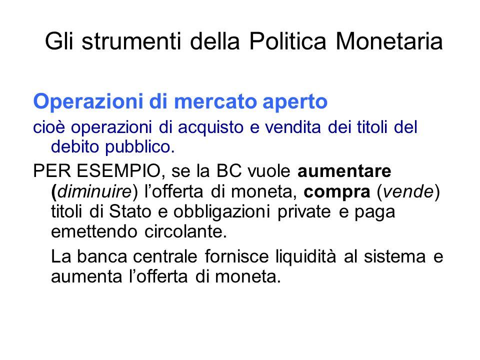 Gli strumenti della Politica Monetaria Riserva obbligatoria : La porzione minima dei depositi che deve essere accantonata.
