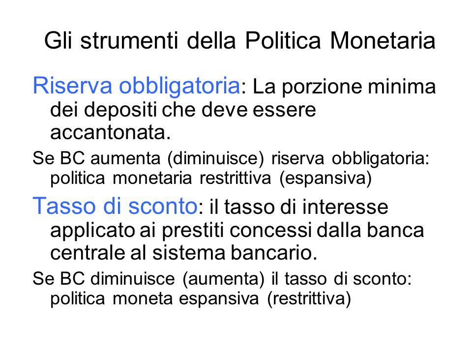 Gli strumenti della Politica Monetaria Riserva obbligatoria : La porzione minima dei depositi che deve essere accantonata. Se BC aumenta (diminuisce)