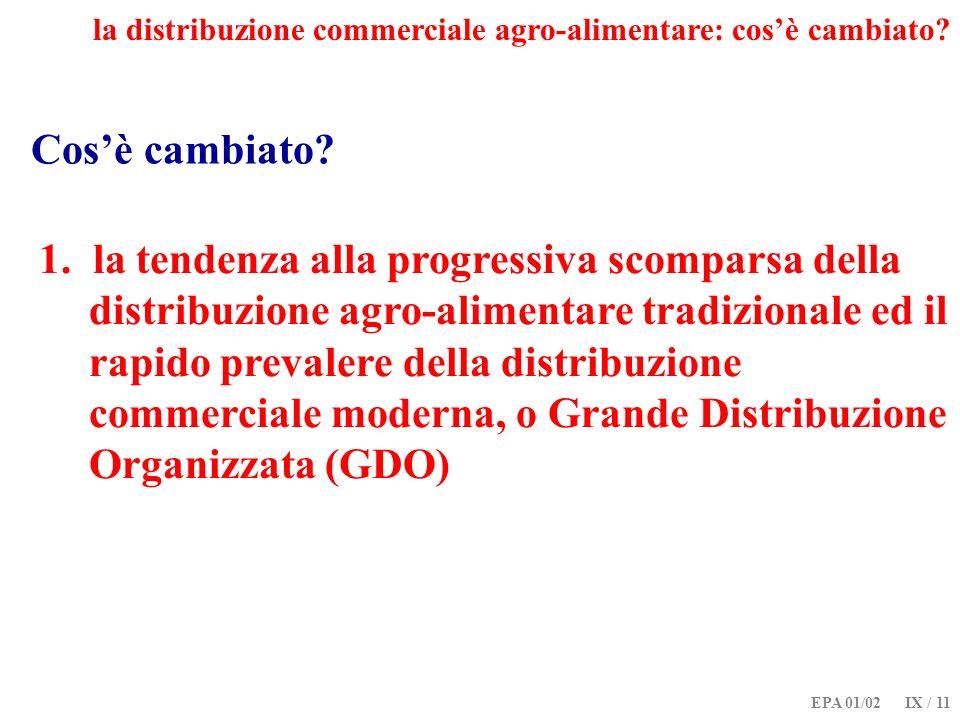 EPA 01/02 IX / 11 Cosè cambiato? 1. la tendenza alla progressiva scomparsa della distribuzione agro-alimentare tradizionale ed il rapido prevalere del