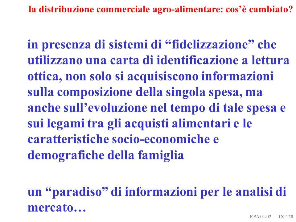 EPA 01/02 IX / 20 la distribuzione commerciale agro-alimentare: cosè cambiato? in presenza di sistemi di fidelizzazione che utilizzano una carta di id