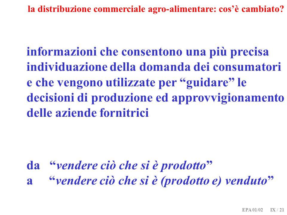EPA 01/02 IX / 21 la distribuzione commerciale agro-alimentare: cosè cambiato? informazioni che consentono una più precisa individuazione della domand