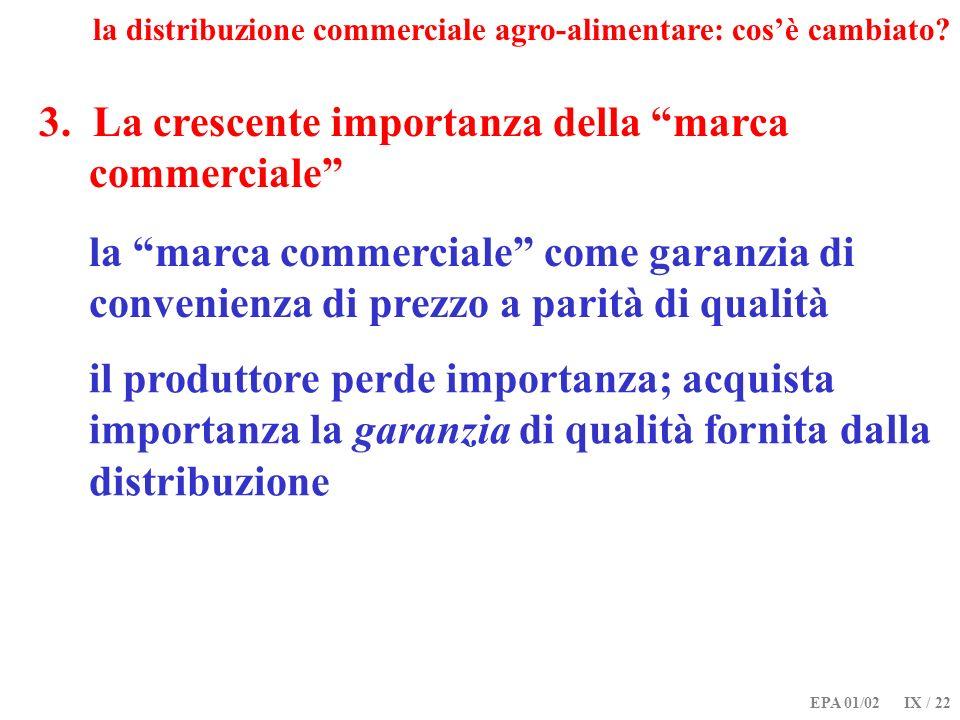 EPA 01/02 IX / 22 3. La crescente importanza della marca commerciale la distribuzione commerciale agro-alimentare: cosè cambiato? la marca commerciale