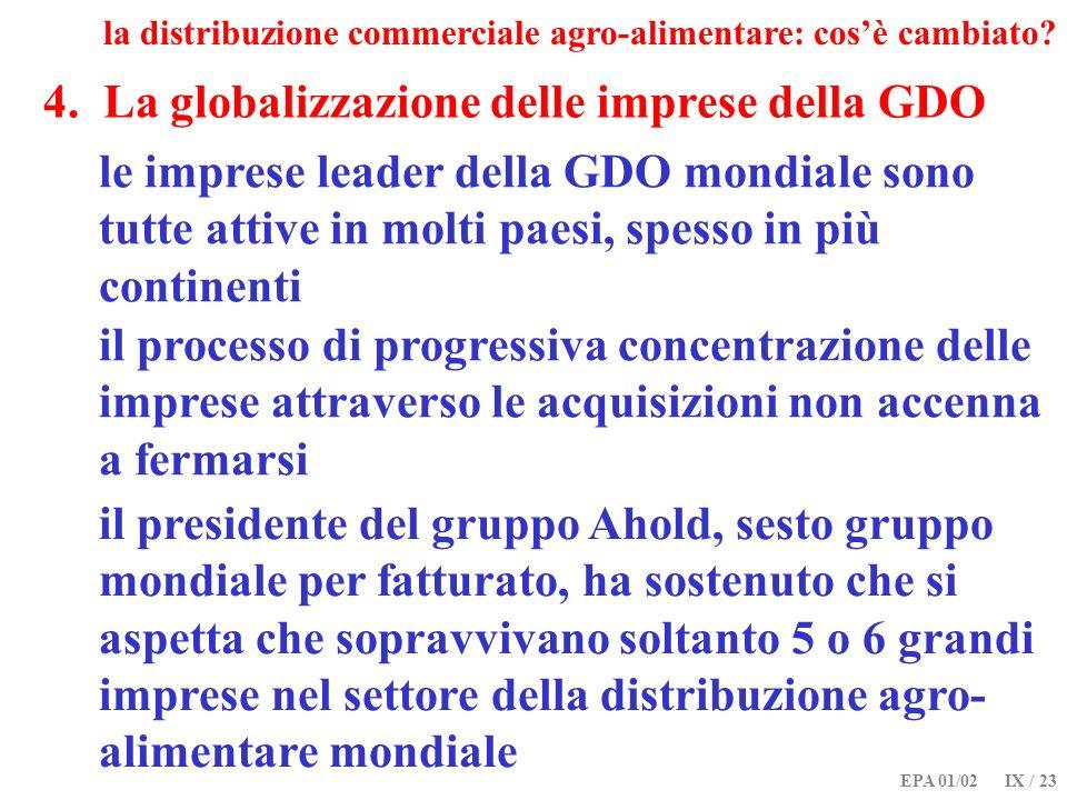 EPA 01/02 IX / 23 4. La globalizzazione delle imprese della GDO la distribuzione commerciale agro-alimentare: cosè cambiato? le imprese leader della G
